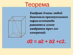 Теорема Квадрат длины любой диагонали прямоугольного параллелепипеда равняетс