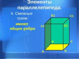 имеют общее ребро 4. Смежные грани Элементы параллелепипеда. А B C D А1 B1 C