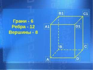 Грани - 6 Ребра - 12 Вершины - 8 А B C D А1 B1 C1 D1