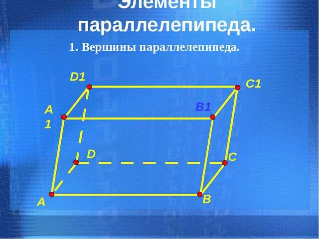 Элементы параллелепипеда. 1. Вершины параллелепипеда. C C1 B B1 A A1 D D1
