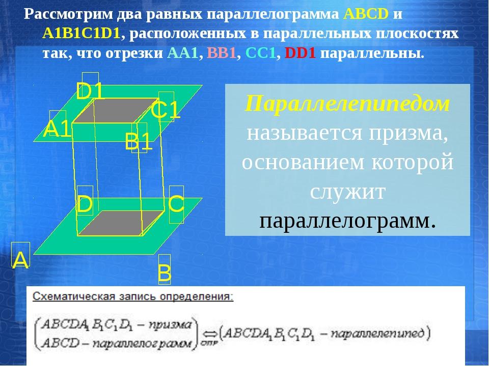 Рассмотрим два равных параллелограмма АВСD и А1В1С1D1, расположенных в паралл...