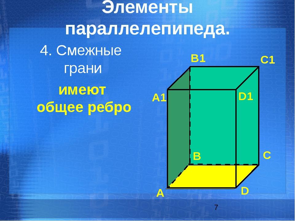 имеют общее ребро 4. Смежные грани Элементы параллелепипеда. А B C D А1 B1 C...