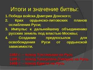 Итоги и значение битвы: Победа войска Дмитрия Донского; Крах ордынско-литовск