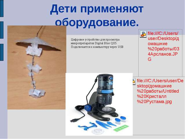 Дети применяют оборудование. Цифровое устройство для просмотра микропрепарато...