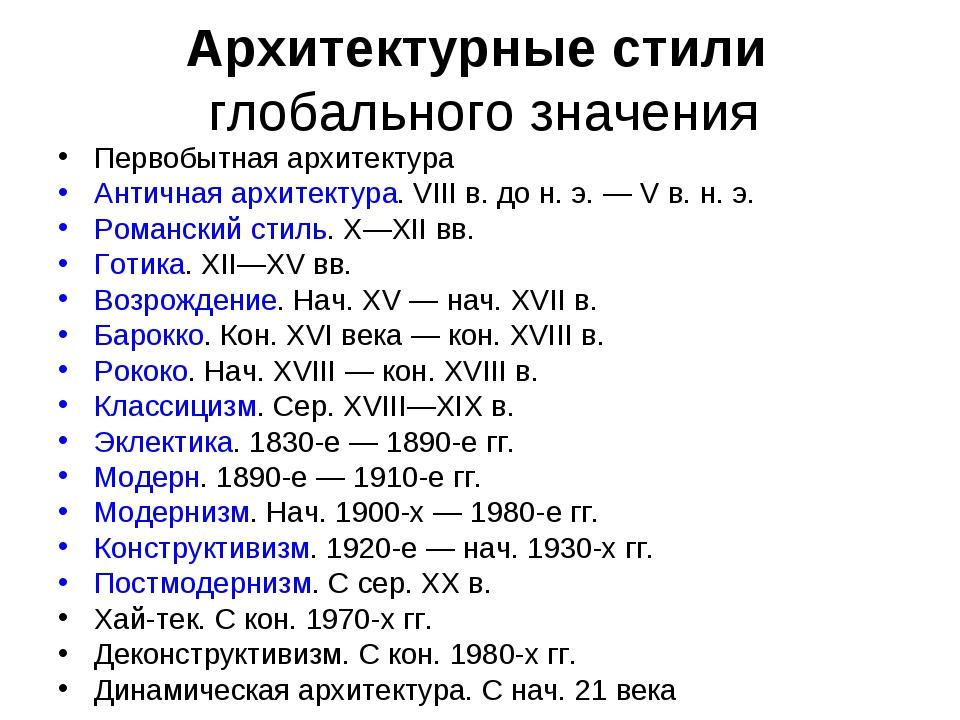 Архитектурные стили глобального значения Первобытная архитектура Античная арх...