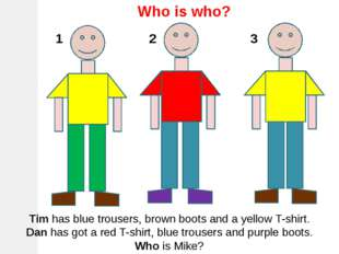 Who is who? Tim has blue trousers, brown boots and a yellow T-shirt. Dan has