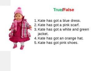 True/False Kate has got a blue dress. Kate has got a pink scarf. Kate has got