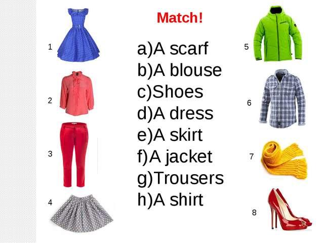1 2 3 4 6 7 5 8 A scarf A blouse Shoes A dress A skirt A jacket Trousers A sh...
