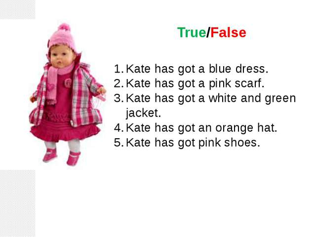 True/False Kate has got a blue dress. Kate has got a pink scarf. Kate has got...