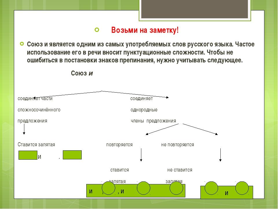 Возьми на заметку! Союз и является одним из самых употребляемых слов русского...