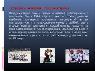 Хоккей с шайбой. Следж-хоккей Паралимпийская версия хоккея с шайбой дебютиров