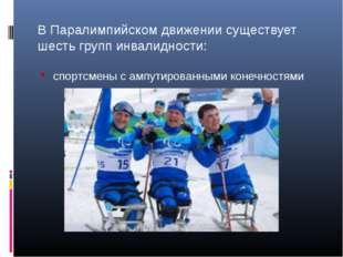 В Паралимпийском движении существует шесть групп инвалидности: спортсмены с а