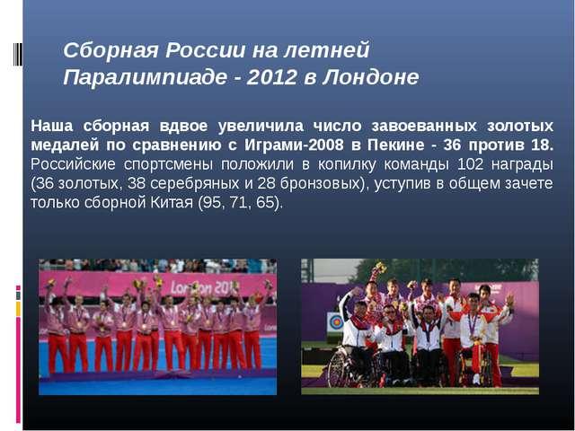 Сборная России на летней Паралимпиаде - 2012 в Лондоне Наша сборная вдвое уве...