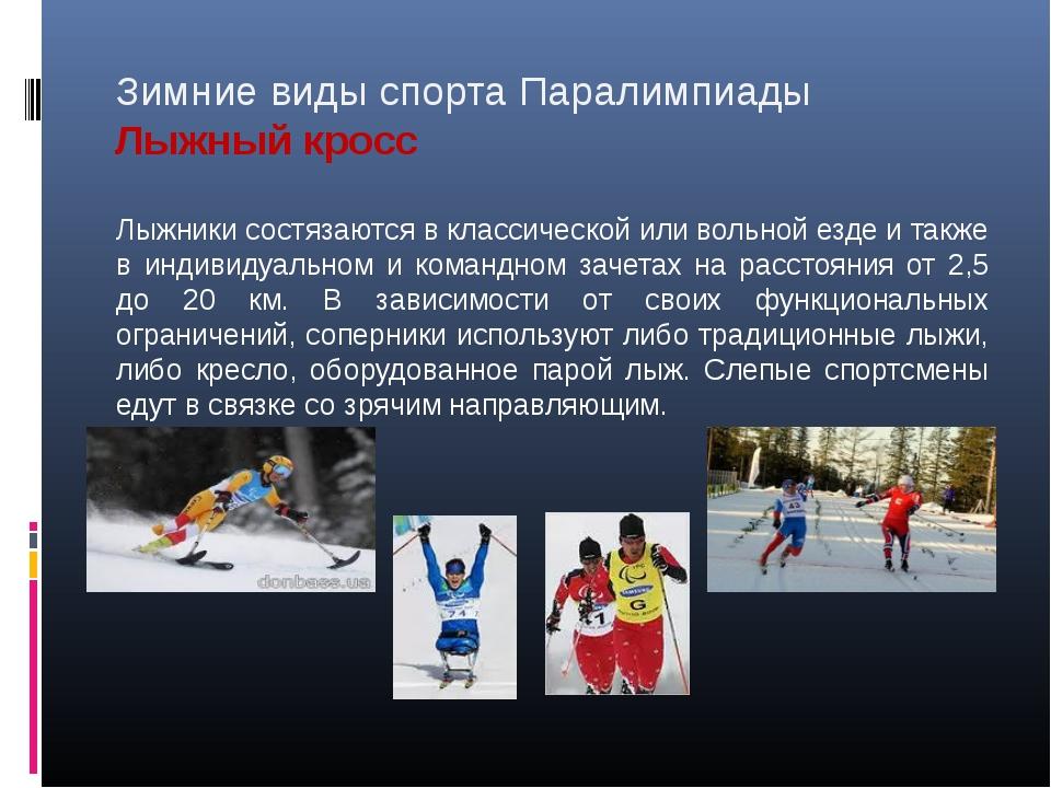 Зимние виды спорта Паралимпиады Лыжный кросс Лыжники состязаются в классическ...
