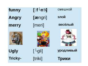 funny [ˊfʌnɪ] смешной Angry [ængri] злой merry [meri] весёлый Ugly [ʌgli] уро