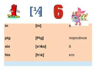 [ɪ] in [In] в pig [Pig] поросёнок six [sɪks] 6 his [hɪz] его