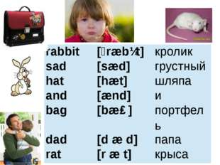rabbit [ˊræbɪt] кролик sad [sæd] грустный hat [hæt] шляпа and [ænd] и bag [bæ