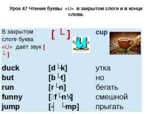 Урок 47 Чтение буквы «U» в закрытом слоге и в конце слова. Взакрытомслоге бук