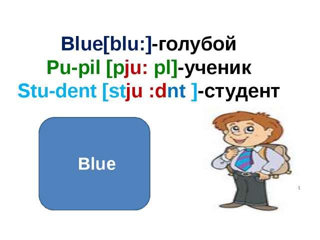 Blue[blu:]-голубой Pu-pil [pju: pl]-ученик Stu-dent [stju :dnt ]-студент Blue