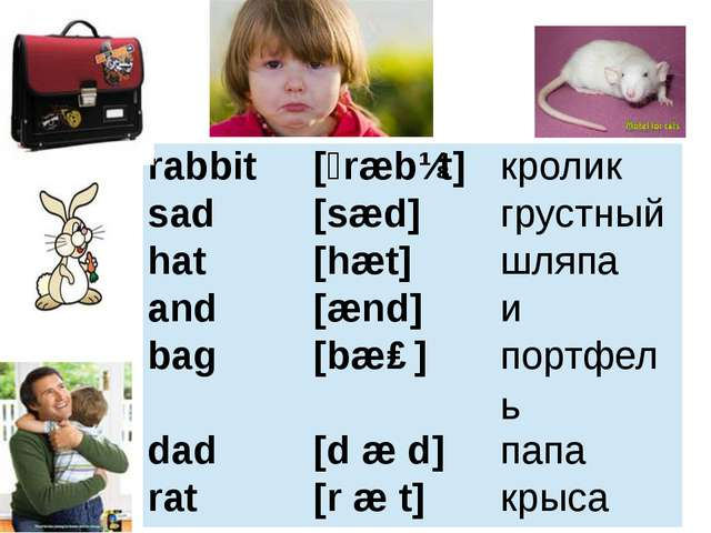 rabbit [ˊræbɪt] кролик sad [sæd] грустный hat [hæt] шляпа and [ænd] и bag [bæ...