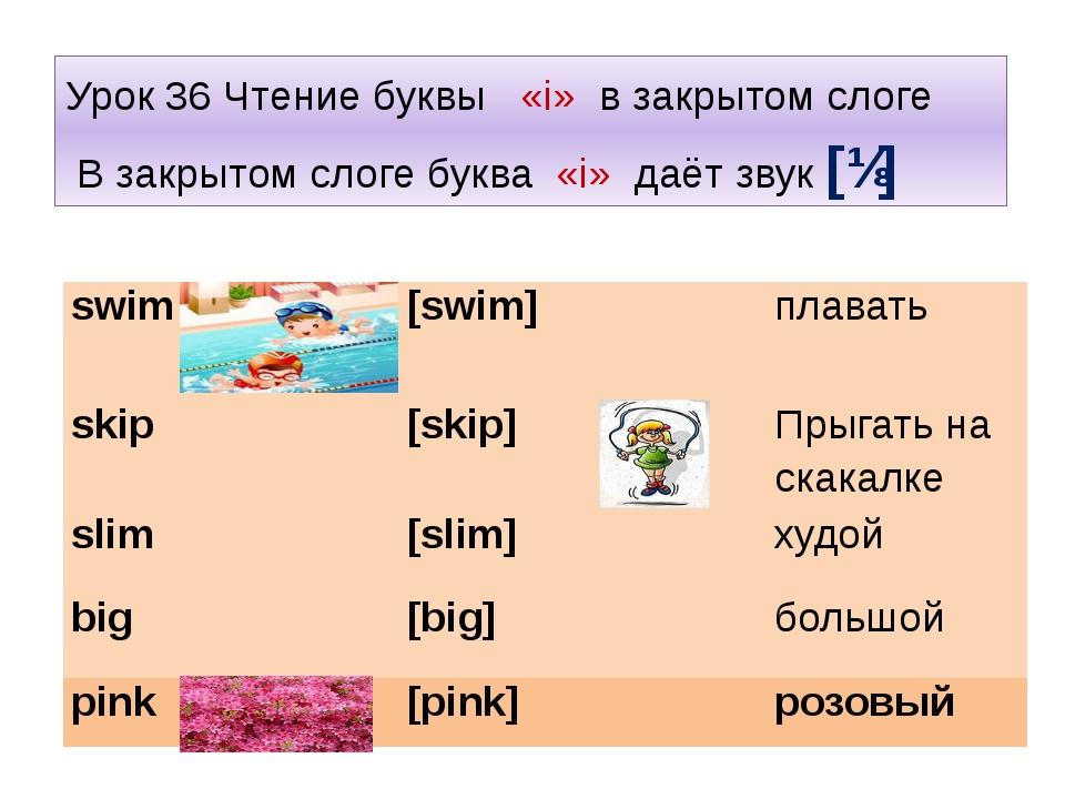 Урок 36 Чтение буквы «i» в закрытом слоге В закрытом слоге буква «i» даёт зву...