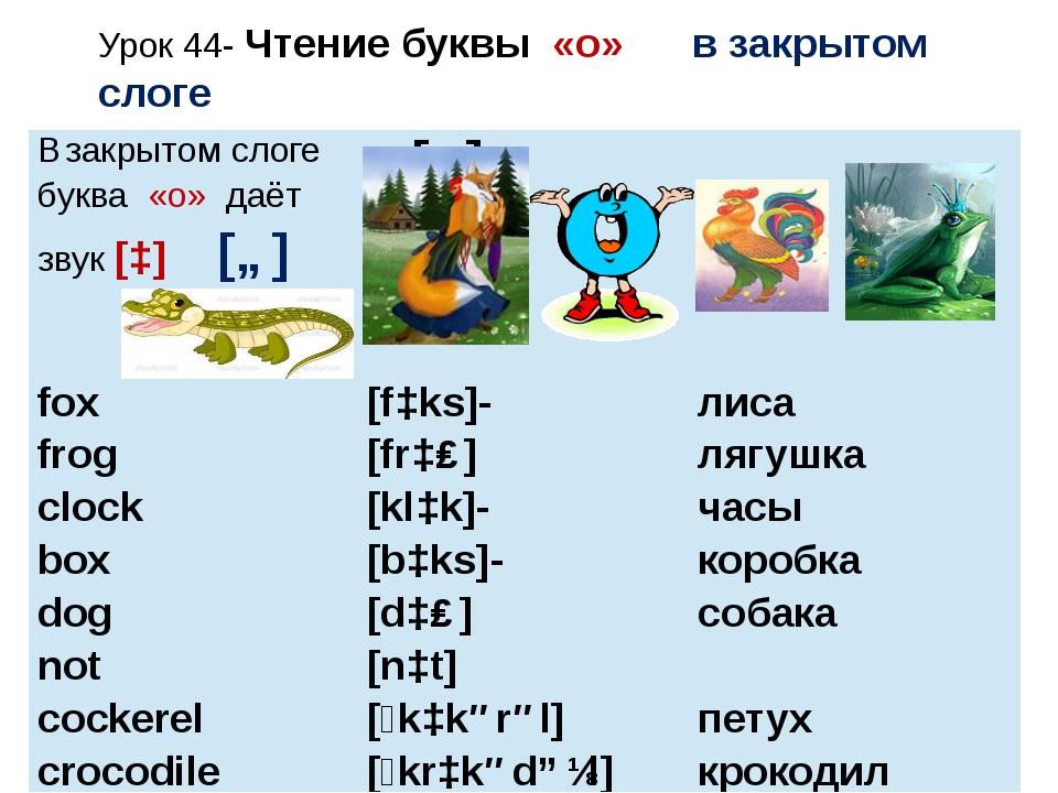 Урок 44- Чтение буквы «o» в закрытом слоге Взакрытом слоге буква«o»даёт звук[...