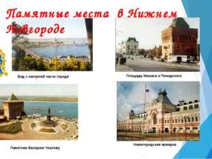 Вид с нагорной части города Площадь Минина и Пожарского Памятник Валерию Чкал