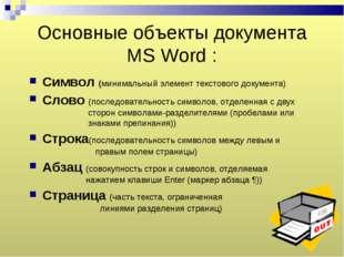 Основные объекты документа MS Word : Символ (минимальный элемент текстового д