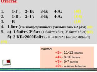 Ответы: 1. 1-Г ; 2- В; 3-Б; 4-А; (4б) 2. 1-В ; 2- Г; 3-Б; 4-А; (4 б) 3. В (1б