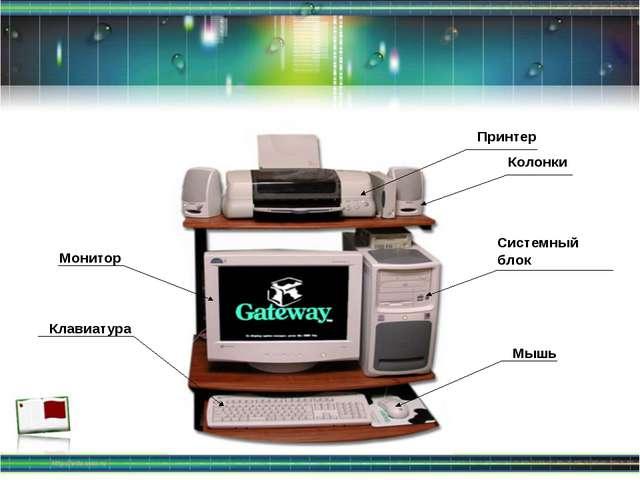 Системный блок Монитор Клавиатура Мышь Принтер Колонки