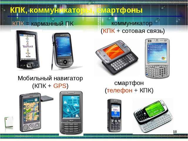 * КПК, коммуникаторы, смартфоны Мобильный навигатор (КПК + GPS) КПК = карманн...