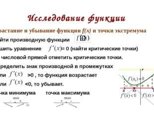 Исследование функции Возрастание и убывание функции f(x) и точки экстремума Н