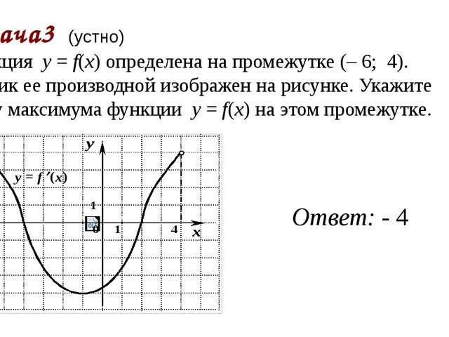 Задача3 (устно) Функция у = f(x) определена на промежутке (–6;4). График...
