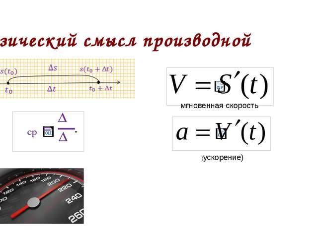 Физический смысл производной мгновенная скорость (ускорение)