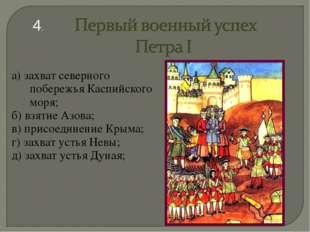 а) захват северного побережья Каспийского моря; б) взятие Азова; в) присоедин