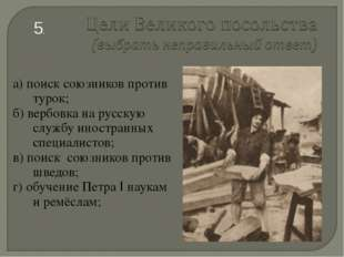 а) поиск союзников против турок; б) вербовка на русскую службу иностранных сп