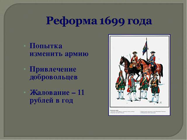 Попытка изменить армию Привлечение добровольцев Жалование – 11 рублей в год
