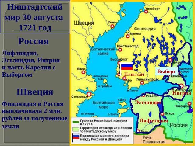 Ништадтский мир 30 августа 1721 год Ништадт Лифляндия Эстляндия Ингрия Выборг...