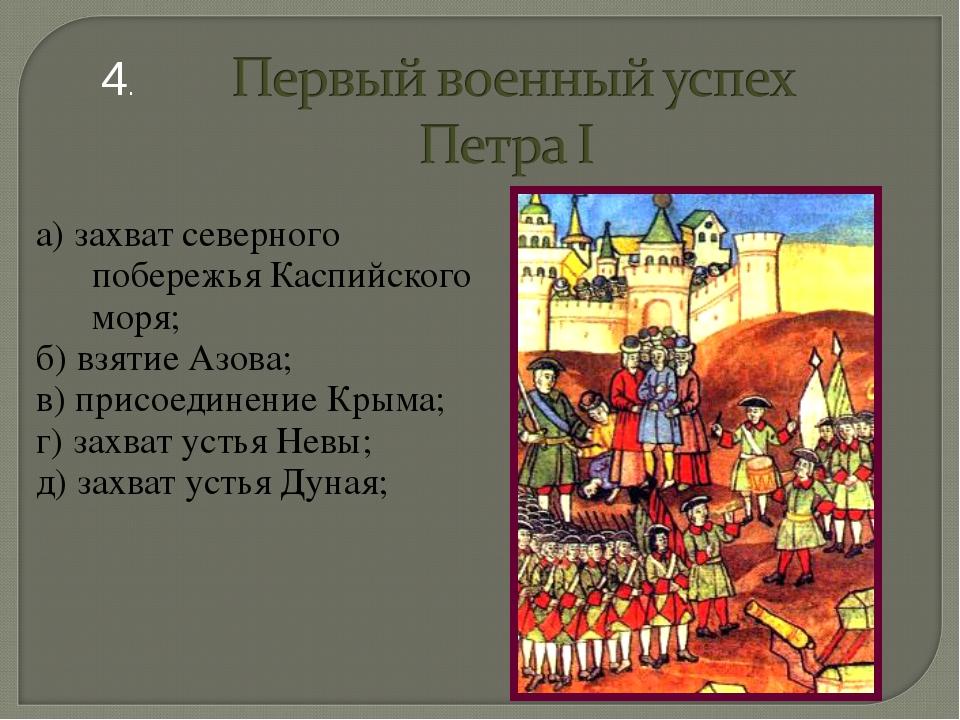 а) захват северного побережья Каспийского моря; б) взятие Азова; в) присоедин...