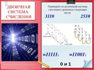=111112 =110012 0 и 1 ДВОИЧНАЯ СИСТЕМА СЧИСЛЕНИЯ Переведите из десятичной си