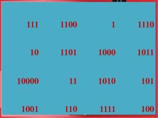 111 1100 1 1110 10 1101 1000 1011 10000 11 1010 101 1001 110 1111 100