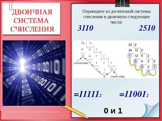 =111112 =110012 0 и 1 ДВОИЧНАЯ СИСТЕМА СЧИСЛЕНИЯ Переведите из десятичной си...