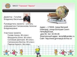 Директор - Голубев Владимир Васильевич. Руководитель проекта – учитель инфор
