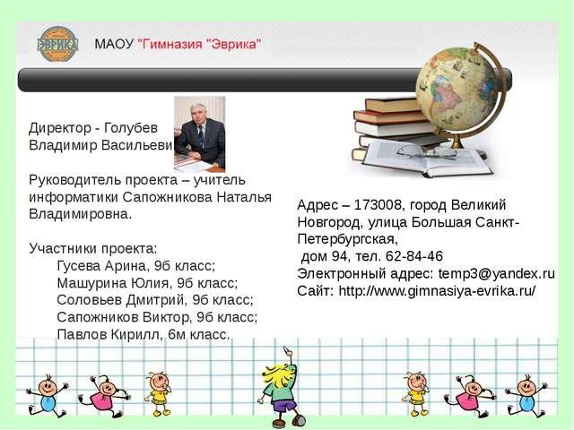Директор - Голубев Владимир Васильевич. Руководитель проекта – учитель инфор...