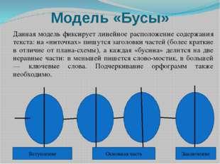 Модель «Бусы» Данная модель фиксирует линейное расположение содержания текста