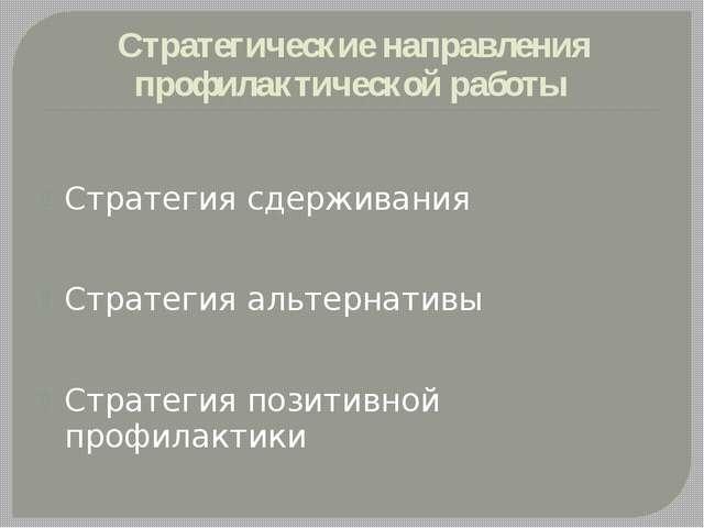 Стратегические направления профилактической работы Стратегия сдерживания Стра...