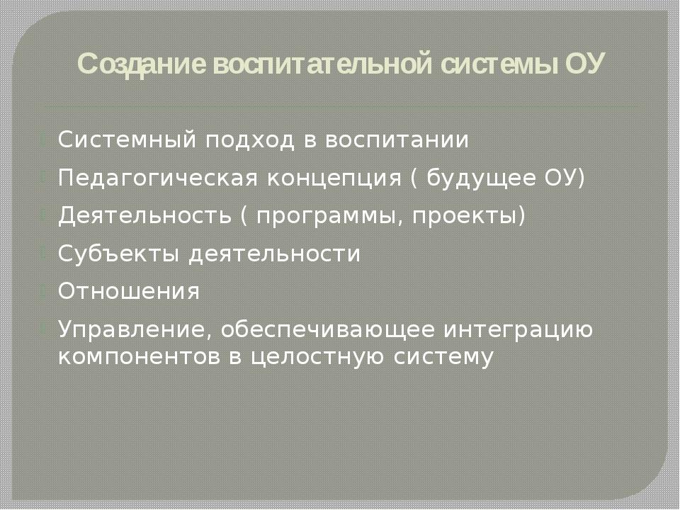 Создание воспитательной системы ОУ Системный подход в воспитании Педагогическ...