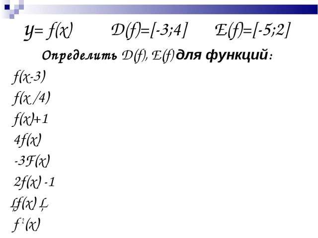 y= f(x)D(f)=[-3;4]  E(f)=[-5;2] Определить D(f), E(f) для функций: f(x-...