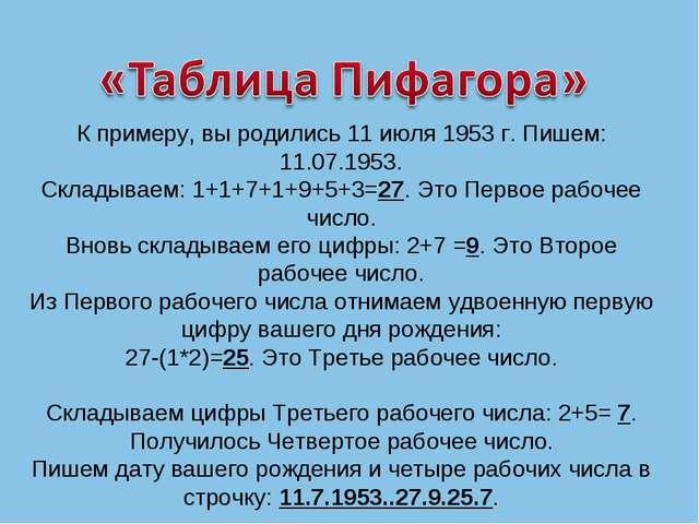 К примеру, вы родились 11 июля 1953 г. Пишем: 11.07.1953. Складываем: 1+1+7+1...