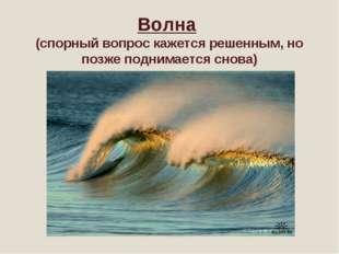 Волна (спорный вопрос кажется решенным, но позже поднимается снова)